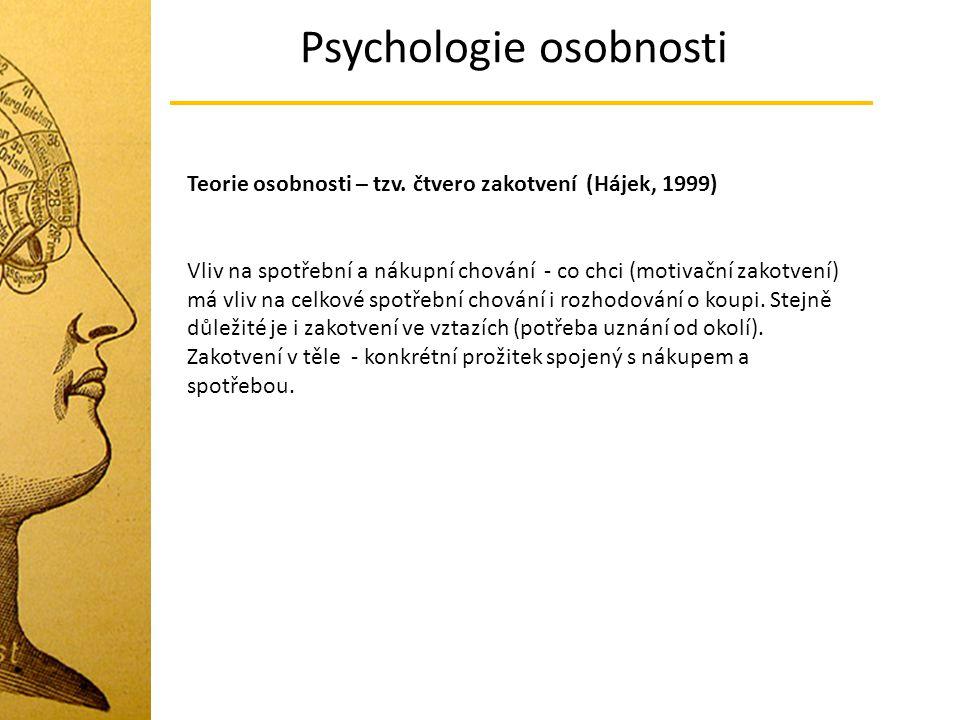 Psychologie osobnosti Teorie osobnosti – tzv. čtvero zakotvení (Hájek, 1999) Vliv na spotřební a nákupní chování - co chci (motivační zakotvení) má vl