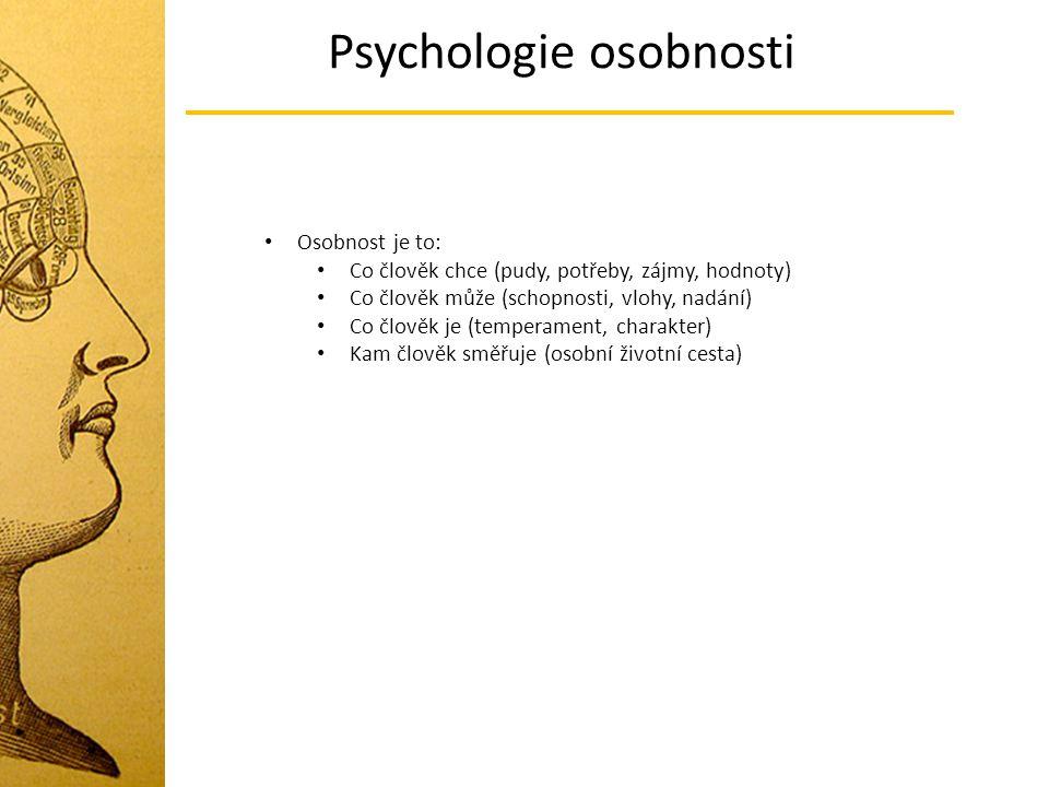 Psychologie osobnosti Osobnost je to: Co člověk chce (pudy, potřeby, zájmy, hodnoty) Co člověk může (schopnosti, vlohy, nadání) Co člověk je (temperam