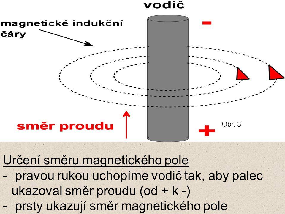 Určení směru magnetického pole - pravou rukou uchopíme vodič tak, aby palec ukazoval směr proudu (od + k -) - prsty ukazují směr magnetického pole Obr.
