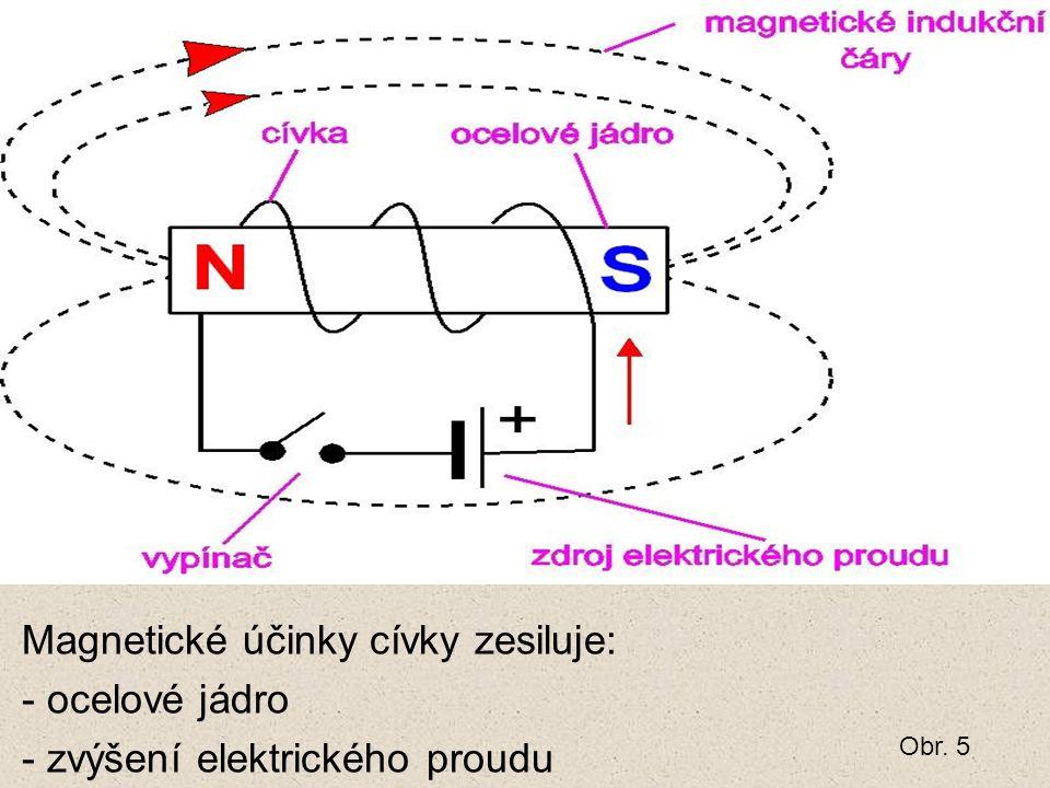 Magnetické účinky cívky zesiluje: - ocelové jádro - zvýšení elektrického proudu Obr. 5