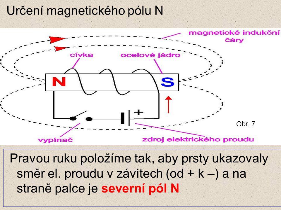 Určení magnetického pólu N Pravou ruku položíme tak, aby prsty ukazovaly směr el. proudu v závitech (od + k –) a na straně palce je severní pól N Obr.