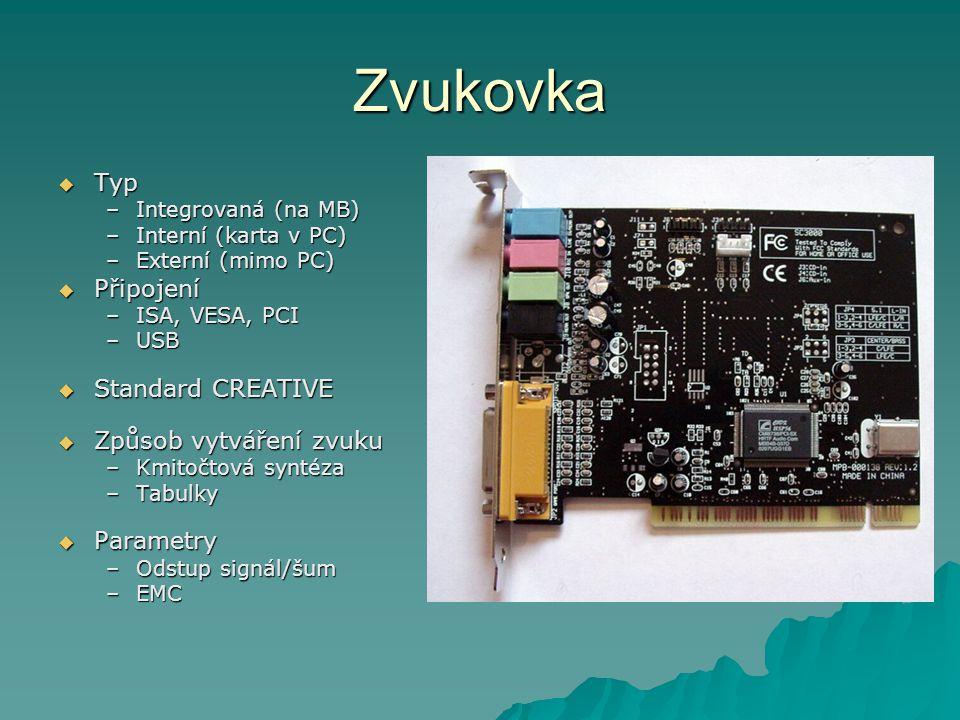 Zvukovka  Typ –Integrovaná (na MB) –Interní (karta v PC) –Externí (mimo PC)  Připojení –ISA, VESA, PCI –USB  Standard CREATIVE  Způsob vytváření z