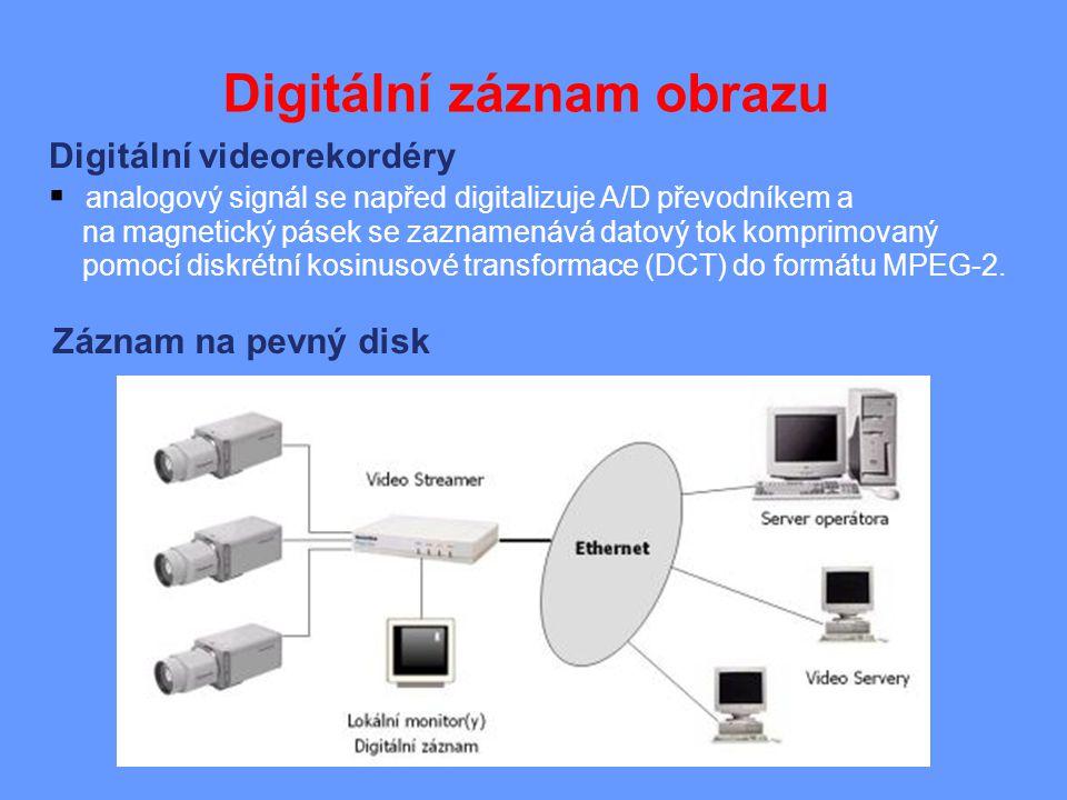 Digitální záznam obrazu Digitální videorekordéry  analogový signál se napřed digitalizuje A/D převodníkem a na magnetický pásek se zaznamenává datový tok komprimovaný pomocí diskrétní kosinusové transformace (DCT) do formátu MPEG-2.