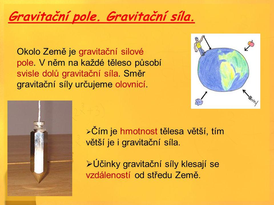 Gravitační pole. Gravitační síla. Okolo Země je gravitační silové pole. V něm na každé těleso působí svisle dolů gravitační síla. Směr gravitační síly