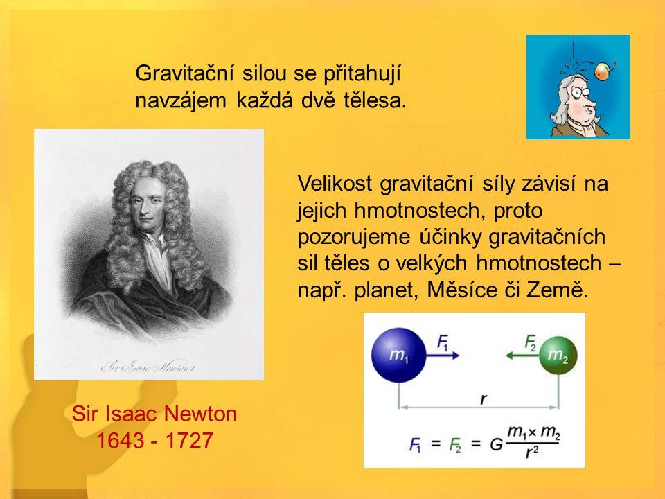 Gravitační silou se přitahují navzájem každá dvě tělesa. Velikost gravitační síly závisí na jejich hmotnostech, proto pozorujeme účinky gravitačních s