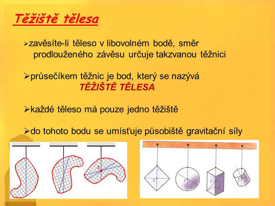 Těžiště tělesa  zavěsíte-li těleso v libovolném bodě, směr prodlouženého závěsu určuje takzvanou těžnici  průsečíkem těžnic je bod, který se nazývá