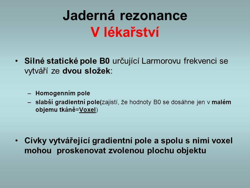 Jaderná rezonance V lékařství Silné statické pole B0 určující Larmorovu frekvenci se vytváří ze dvou složek: –Homogenním pole –slabší gradientní pole(
