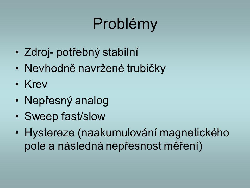 Problémy Zdroj- potřebný stabilní Nevhodně navržené trubičky Krev Nepřesný analog Sweep fast/slow Hystereze (naakumulování magnetického pole a následn
