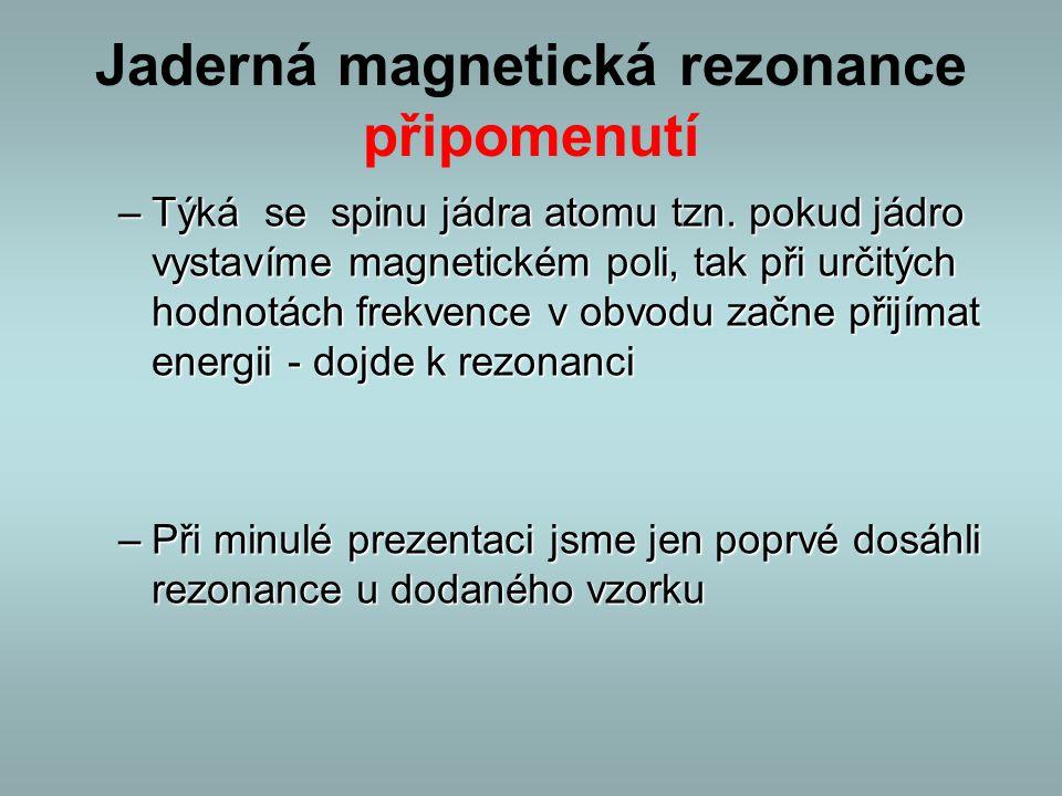 Jaderná magnetická rezonance připomenutí –Týká se spinu jádra atomu tzn. pokud jádro vystavíme magnetickém poli, tak při určitých hodnotách frekvence