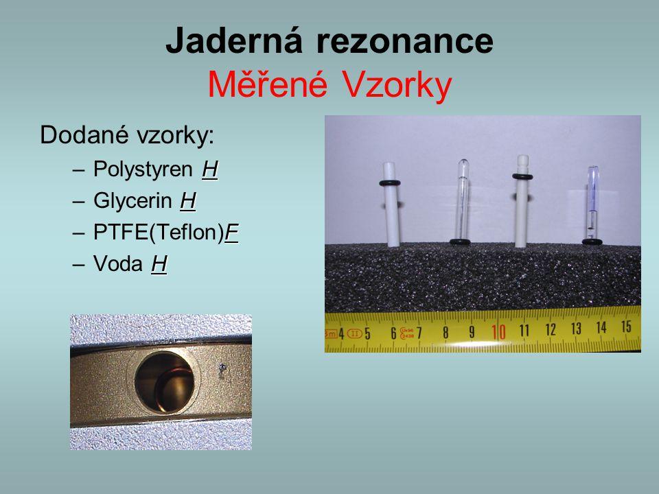 Jaderná rezonance Měřené Vzorky Dodané vzorky: H –Polystyren H H –Glycerin H F –PTFE(Teflon)F H –Voda H