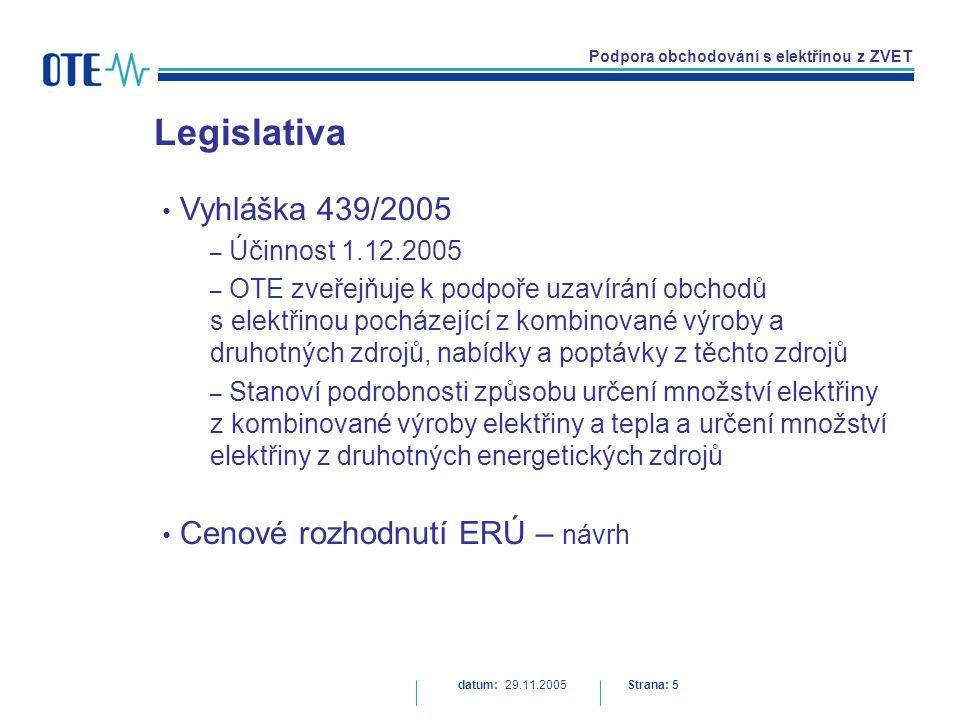 Podpora obchodování s elektřinou z ZVET Legislativa datum: 29.11.2005Strana: 5 Vyhláška 439/2005 – Účinnost 1.12.2005 – OTE zveřejňuje k podpoře uzavírání obchodů s elektřinou pocházející z kombinované výroby a druhotných zdrojů, nabídky a poptávky z těchto zdrojů – Stanoví podrobnosti způsobu určení množství elektřiny z kombinované výroby elektřiny a tepla a určení množství elektřiny z druhotných energetických zdrojů Cenové rozhodnutí ERÚ – návrh