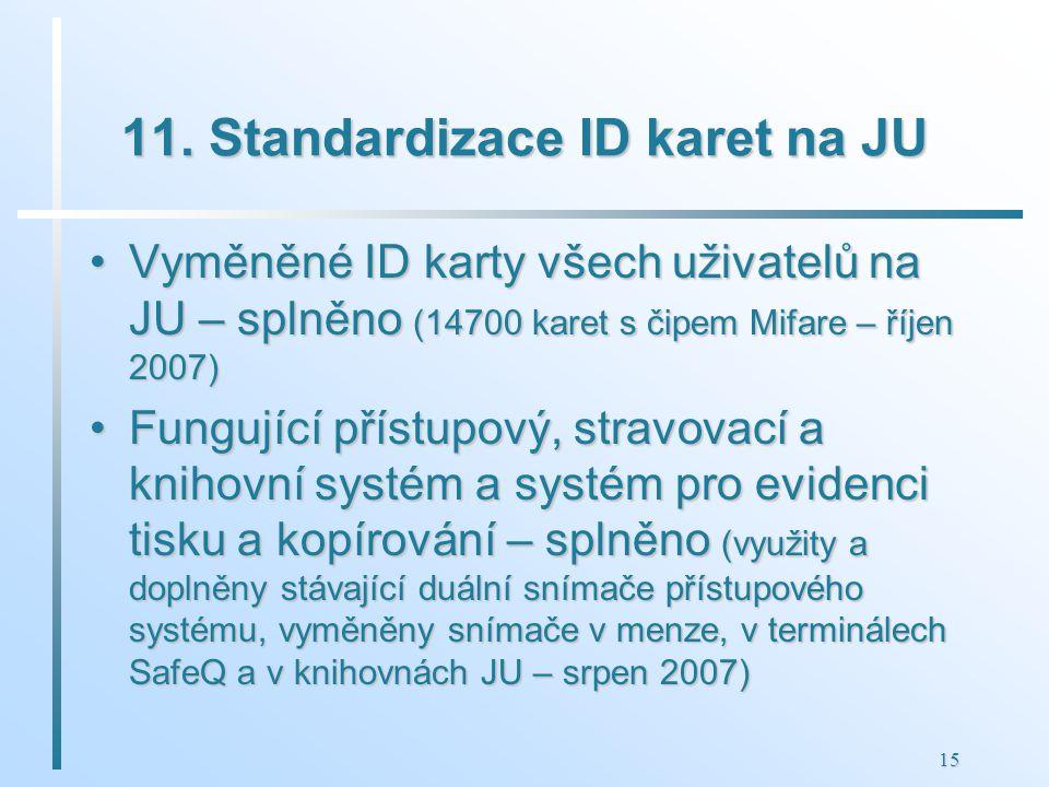 15 11. Standardizace ID karet na JU Vyměněné ID karty všech uživatelů na JU – splněno (14700 karet s čipem Mifare – říjen 2007)Vyměněné ID karty všech