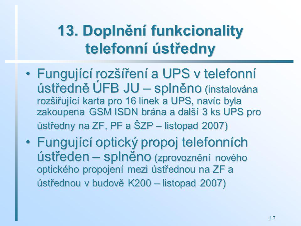 17 13. Doplnění funkcionality telefonní ústředny Fungující rozšíření a UPS v telefonní ústředně ÚFB JU – splněno (instalována rozšiřující karta pro 16