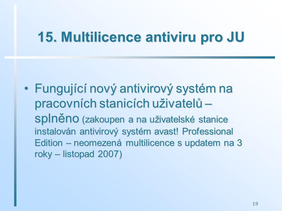 19 15. Multilicence antiviru pro JU Fungující nový antivirový systém na pracovních stanicích uživatelů – splněno (zakoupen a na uživatelské stanice in