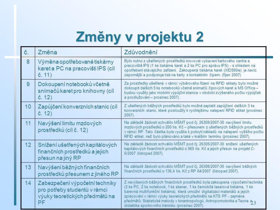 23 Změny v projektu 2 č.ZměnaZdůvodnění 8 Výměna opotřebované tiskárny karet a PC na pracovišti IPS (cíl č. 11) Bylo nutno z ušetřených prostředků ino