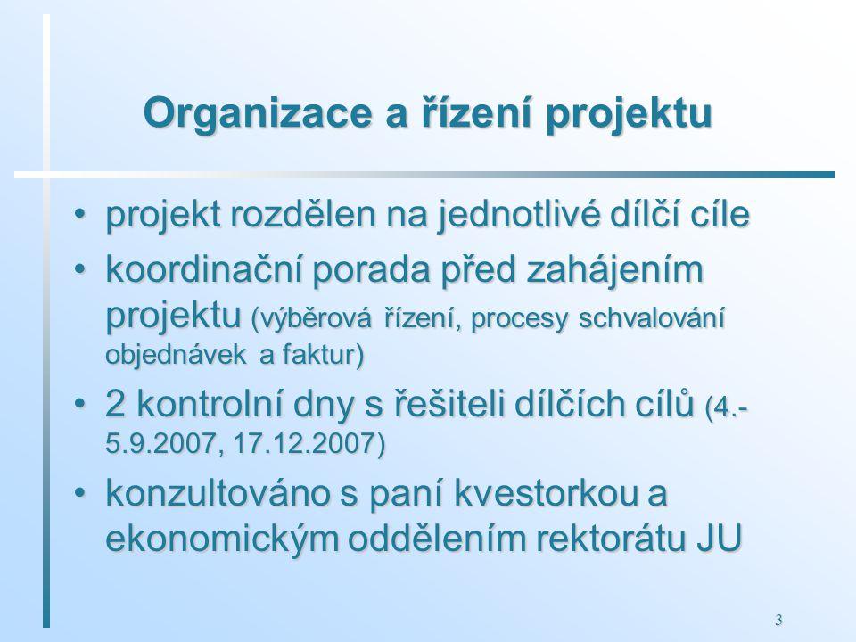 3 Organizace a řízení projektu projekt rozdělen na jednotlivé dílčí cíleprojekt rozdělen na jednotlivé dílčí cíle koordinační porada před zahájením projektu (výběrová řízení, procesy schvalování objednávek a faktur)koordinační porada před zahájením projektu (výběrová řízení, procesy schvalování objednávek a faktur) 2 kontrolní dny s řešiteli dílčích cílů (4.- 5.9.2007, 17.12.2007)2 kontrolní dny s řešiteli dílčích cílů (4.- 5.9.2007, 17.12.2007) konzultováno s paní kvestorkou a ekonomickým oddělením rektorátu JUkonzultováno s paní kvestorkou a ekonomickým oddělením rektorátu JU
