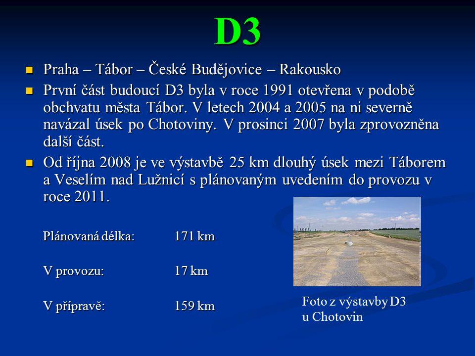 D3 Praha – Tábor – České Budějovice – Rakousko Praha – Tábor – České Budějovice – Rakousko První část budoucí D3 byla v roce 1991 otevřena v podobě ob