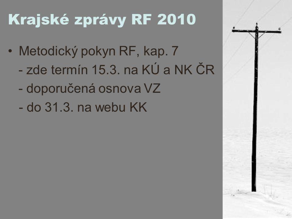 Krajské zprávy RF 2010 Metodický pokyn RF, kap. 7 - zde termín 15.3.