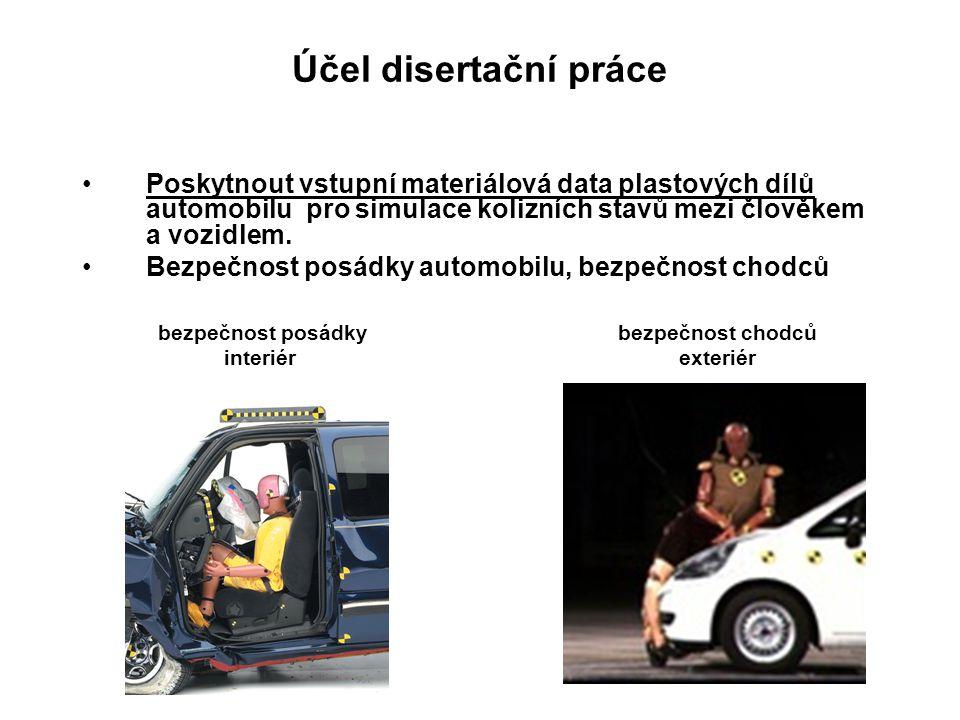 Účel disertační práce Poskytnout vstupní materiálová data plastových dílů automobilu pro simulace kolizních stavů mezi člověkem a vozidlem. Bezpečnost
