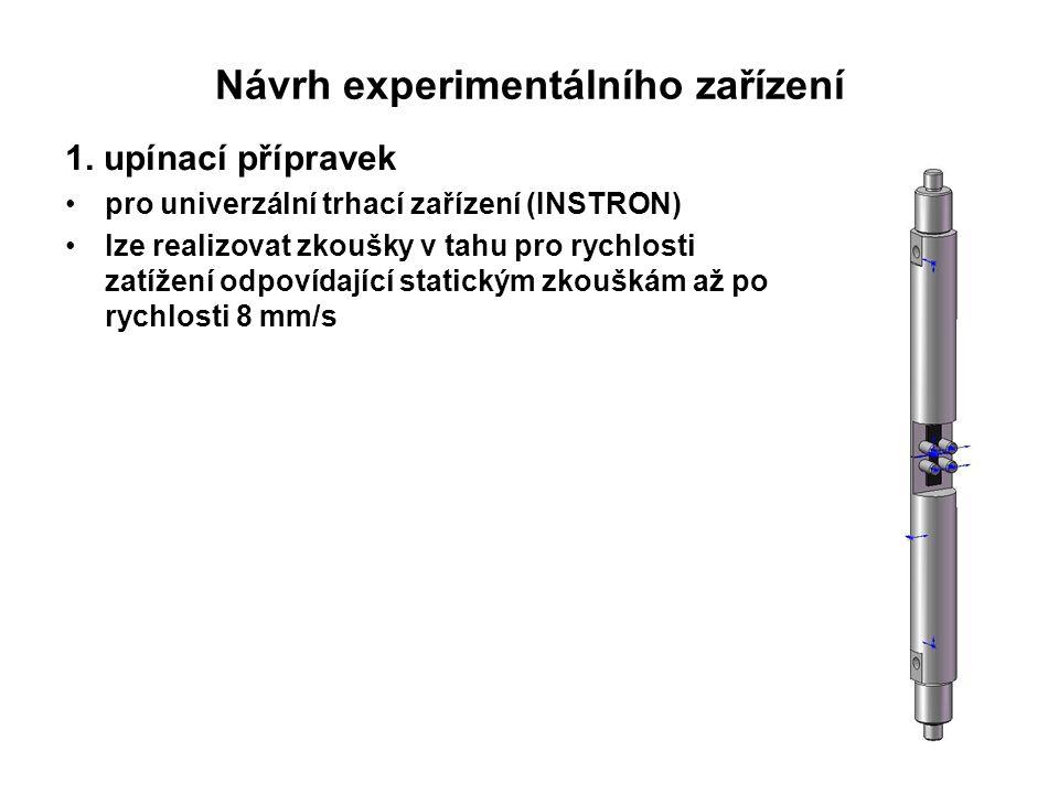 1. upínací přípravek pro univerzální trhací zařízení (INSTRON) lze realizovat zkoušky v tahu pro rychlosti zatížení odpovídající statickým zkouškám až
