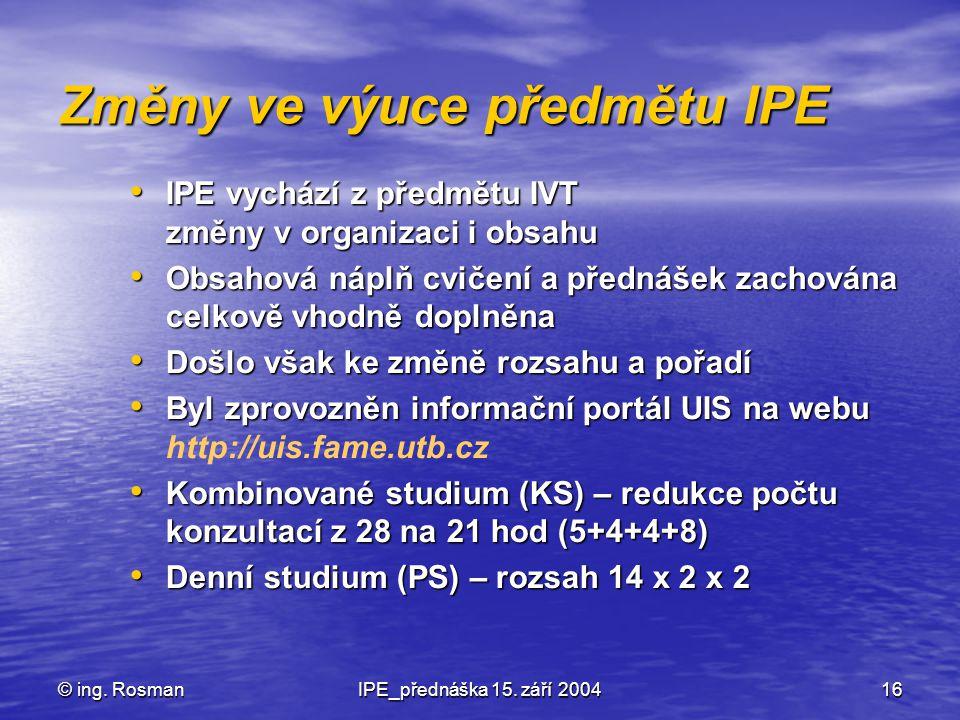 © ing. RosmanIPE_přednáška 15. září 200416 Změny ve výuce předmětu IPE IPE vychází z předmětu IVT změny v organizaci i obsahu IPE vychází z předmětu I