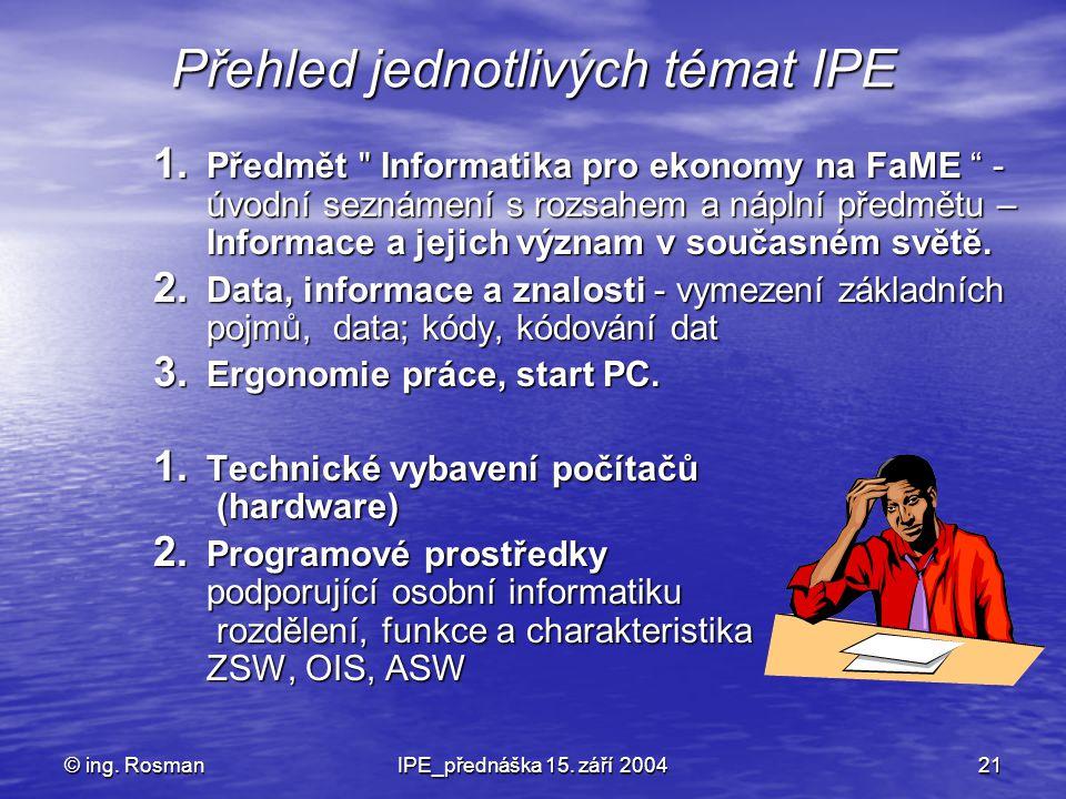 © ing. RosmanIPE_přednáška 15. září 200421 Přehled jednotlivých témat IPE 1. Předmět