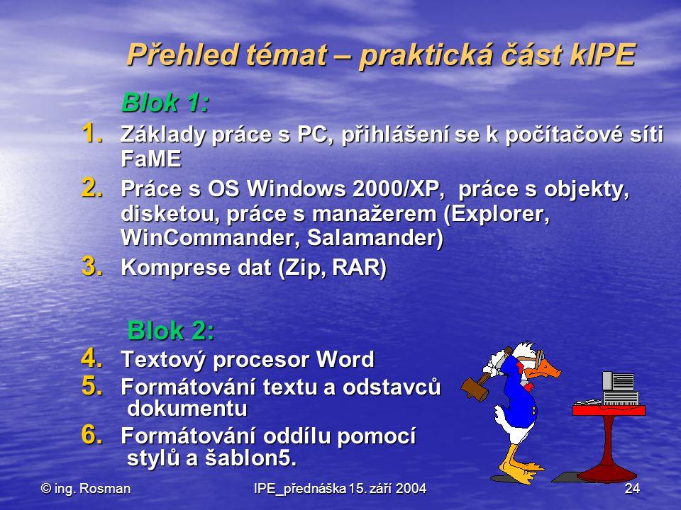 © ing. RosmanIPE_přednáška 15. září 200424 Přehled témat – praktická část kIPE Blok 1: 1. Základy práce s PC, přihlášení se k počítačové síti FaME 2.