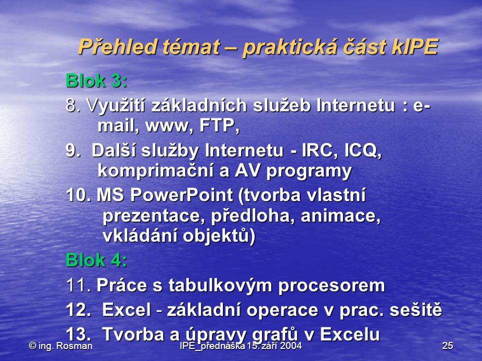 © ing. RosmanIPE_přednáška 15. září 200425 Přehled témat – praktická část kIPE Blok 3: 8. Využití základních služeb Internetu : e- mail, www, FTP, 9.