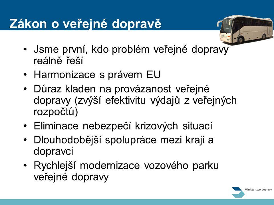 Zákon o veřejné dopravě Jsme první, kdo problém veřejné dopravy reálně řeší Harmonizace s právem EU Důraz kladen na provázanost veřejné dopravy (zvýší efektivitu výdajů z veřejných rozpočtů) Eliminace nebezpečí krizových situací Dlouhodobější spolupráce mezi kraji a dopravci Rychlejší modernizace vozového parku veřejné dopravy