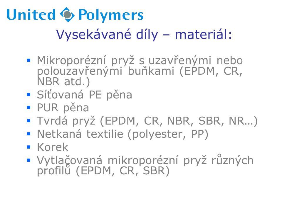 Vysekávané díly – materiál:  Mikroporézní pryž s uzavřenými nebo polouzavřenými buňkami (EPDM, CR, NBR atd.)  Síťovaná PE pěna  PUR pěna  Tvrdá pr