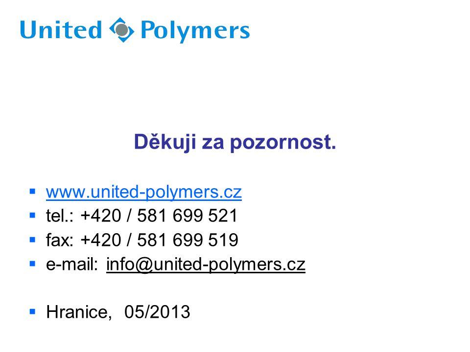 Děkuji za pozornost.  www.united-polymers.cz  tel.: +420 / 581 699 521  fax: +420 / 581 699 519  e-mail: info@united-polymers.cz  Hranice, 05/201