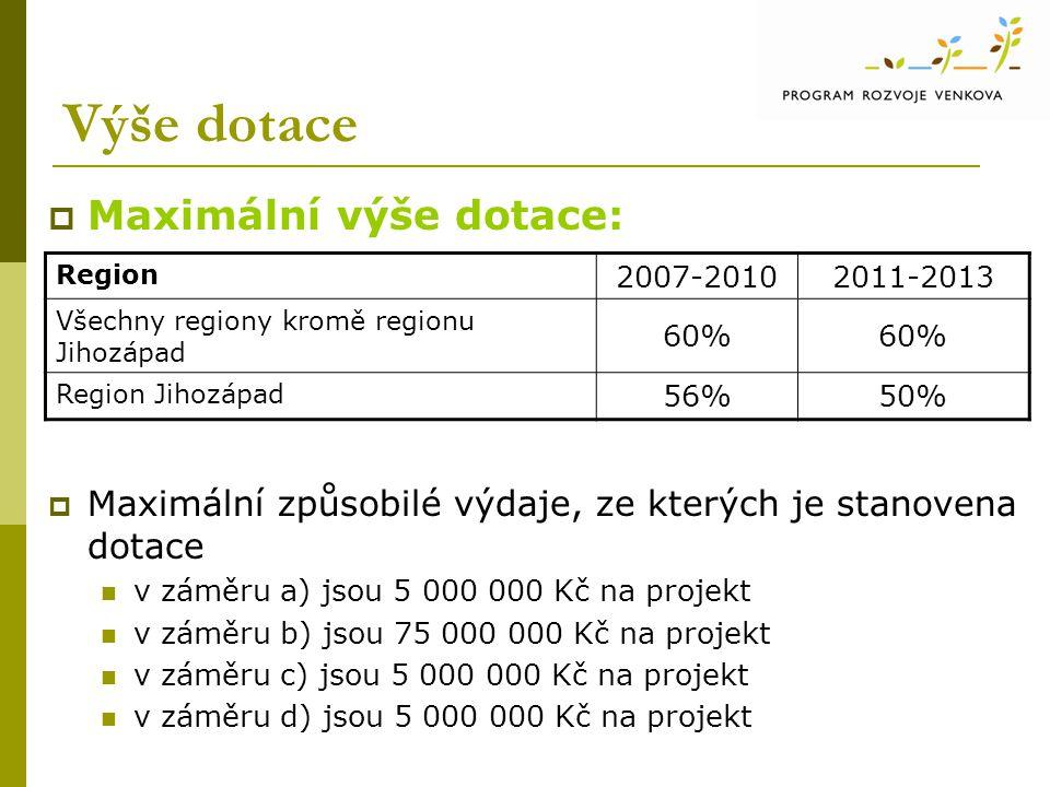 Výše dotace  Maximální výše dotace:  Maximální způsobilé výdaje, ze kterých je stanovena dotace v záměru a) jsou 5 000 000 Kč na projekt v záměru b) jsou 75 000 000 Kč na projekt v záměru c) jsou 5 000 000 Kč na projekt v záměru d) jsou 5 000 000 Kč na projekt Region 2007-20102011-2013 Všechny regiony kromě regionu Jihozápad 60% Region Jihozápad 56%50%