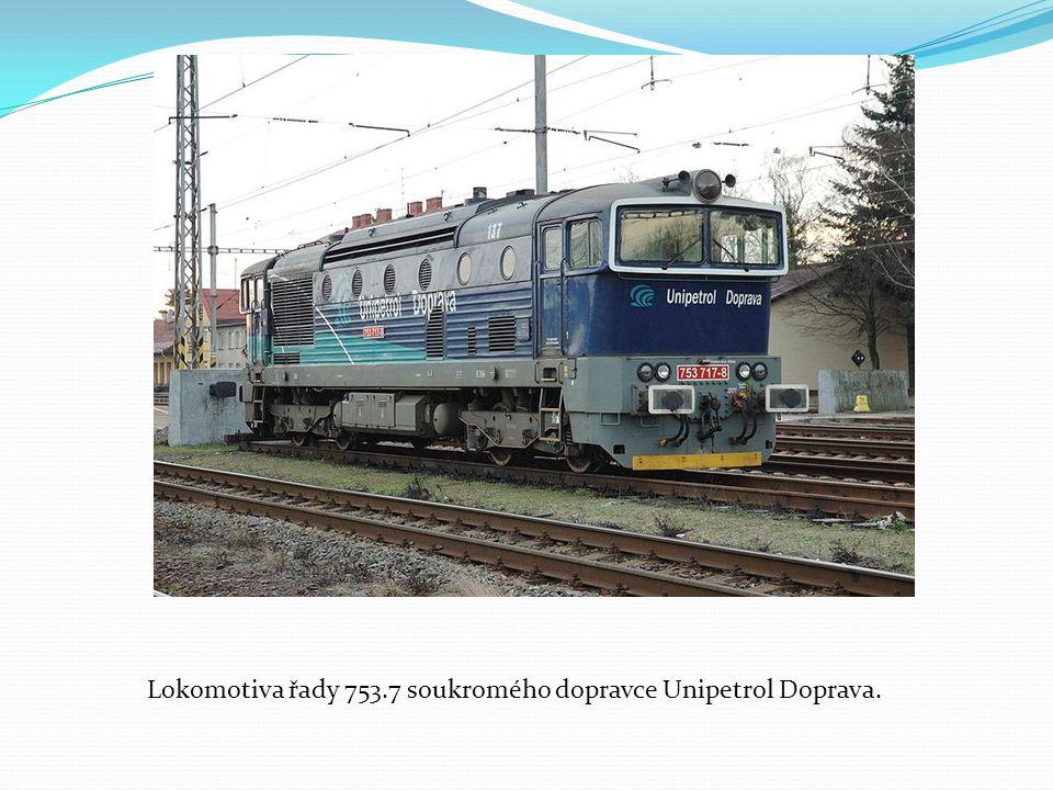 Lokomotiva řady 753.7 soukromého dopravce Unipetrol Doprava.