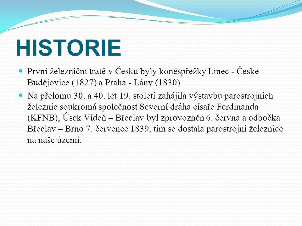 HISTORIE První železniční tratě v Česku byly koněspřežky Linec - České Budějovice (1827) a Praha - Lány (1830) Na přelomu 30.