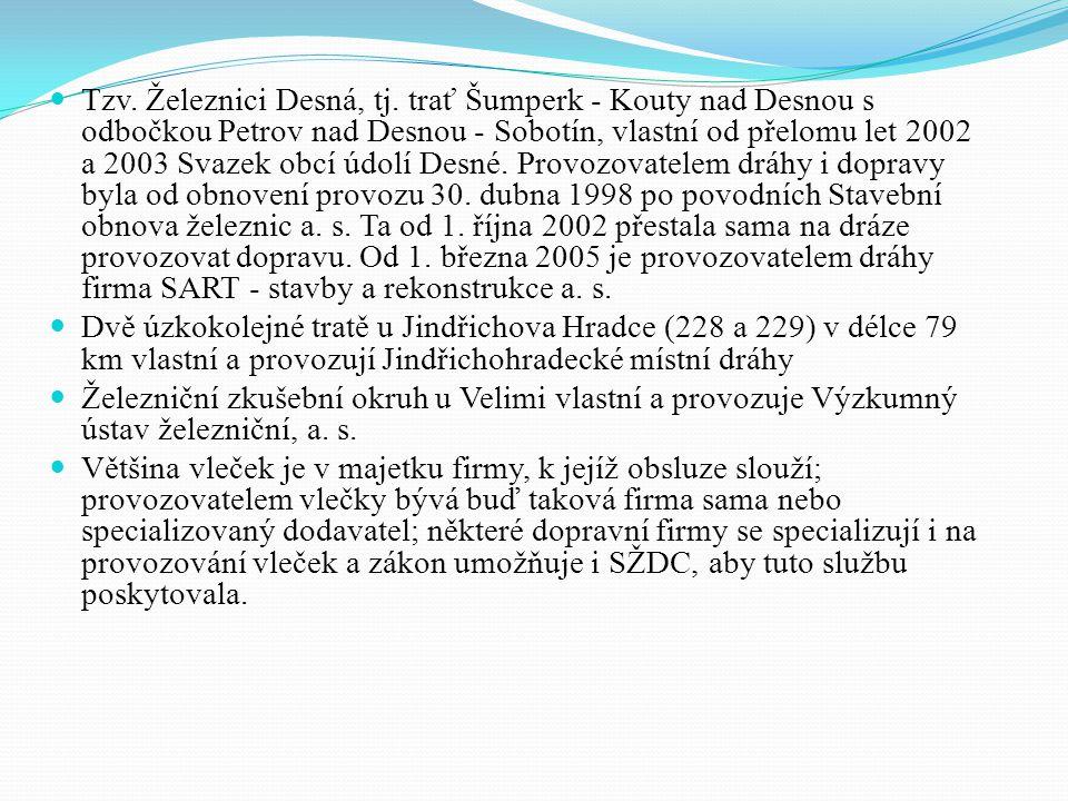 Tzv. Železnici Desná, tj. trať Šumperk - Kouty nad Desnou s odbočkou Petrov nad Desnou - Sobotín, vlastní od přelomu let 2002 a 2003 Svazek obcí údolí