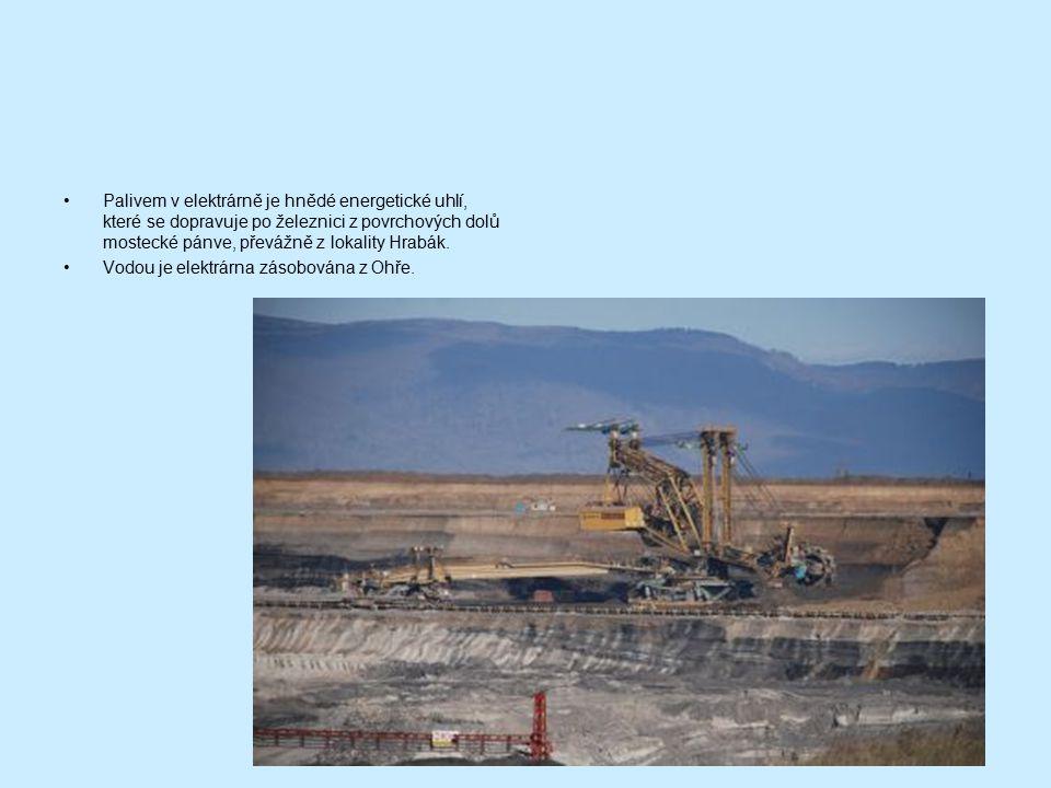 Palivem v elektrárně je hnědé energetické uhlí, které se dopravuje po železnici z povrchových dolů mostecké pánve, převážně z lokality Hrabák.