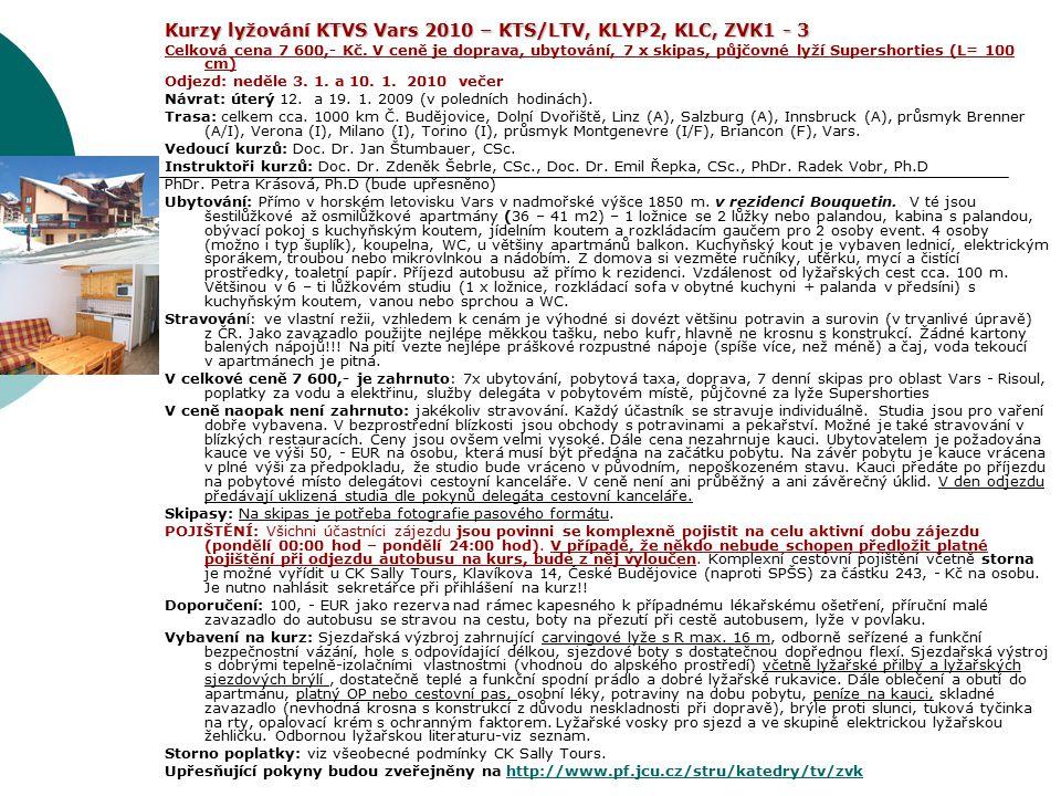 Kurzy lyžování KTVS Vars 2010 – KTS/LTV, KLYP2, KLC, ZVK1 - 3 Celková cena 7 600,- Kč. V ceně je doprava, ubytování, 7 x skipas, půjčovné lyží Supersh