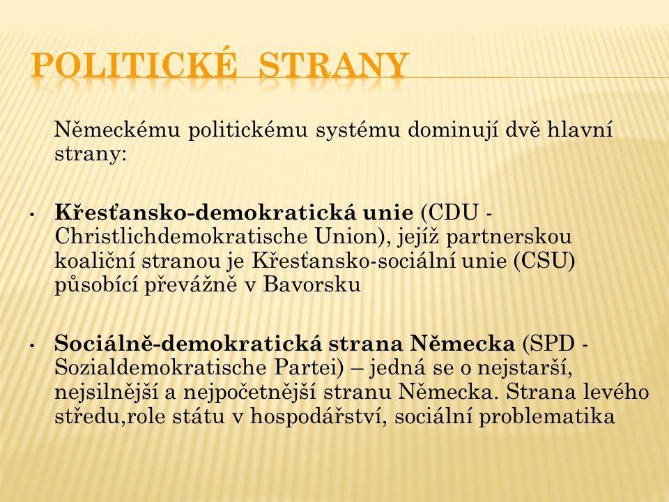 Německému politickému systému dominují dvě hlavní strany: Křesťansko-demokratická unie (CDU - Christlichdemokratische Union), jejíž partnerskou koaliční stranou je Křesťansko-sociální unie (CSU) působící převážně v Bavorsku Sociálně-demokratická strana Německa (SPD - Sozialdemokratische Partei) – jedná se o nejstarší, nejsilnější a nejpočetnější stranu Německa.