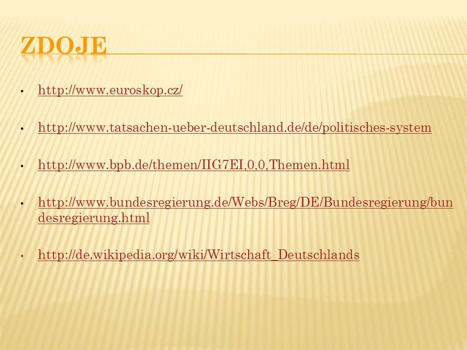 http://www.euroskop.cz/ http://www.tatsachen-ueber-deutschland.de/de/politisches-system http://www.bpb.de/themen/IIG7EI,0,0,Themen.html http://www.bundesregierung.de/Webs/Breg/DE/Bundesregierung/bun desregierung.html http://www.bundesregierung.de/Webs/Breg/DE/Bundesregierung/bun desregierung.html http://de.wikipedia.org/wiki/Wirtschaft_Deutschlands