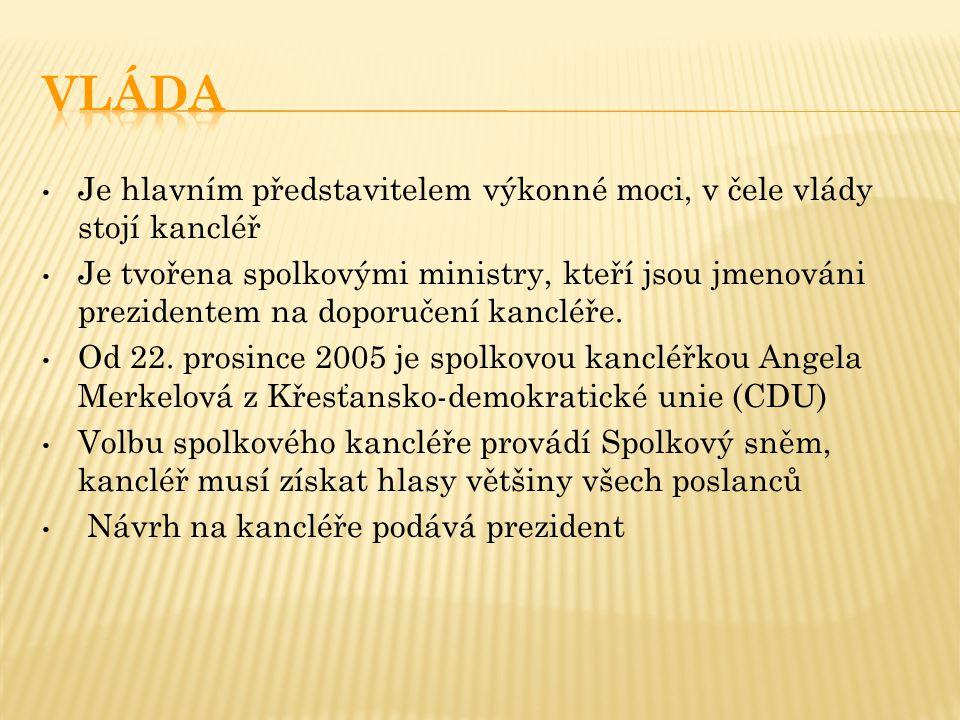 Je hlavním představitelem výkonné moci, v čele vlády stojí kancléř Je tvořena spolkovými ministry, kteří jsou jmenováni prezidentem na doporučení kancléře.
