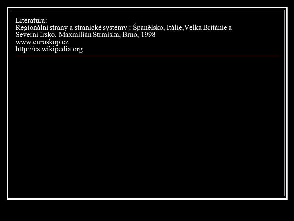 Literatura: Regionální strany a stranické systémy : Španělsko, Itálie,Velká Británie a Severní Irsko, Maxmilián Strmiska, Brno, 1998 www.euroskop.cz h