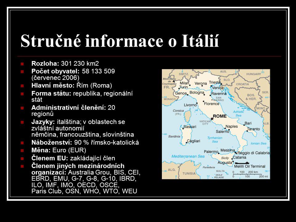 Stručné informace o Itálií Rozloha: 301 230 km2 Počet obyvatel: 58 133 509 (červenec 2006) Hlavní město: Řím (Roma) Forma státu: republika, regionální