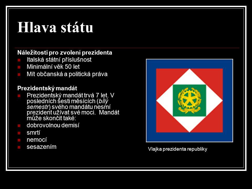 Hlava státu Náležitosti pro zvolení prezidenta Italská státní příslušnost Minimální věk 50 let Mít občanská a politická práva Prezidentský mandát Prez