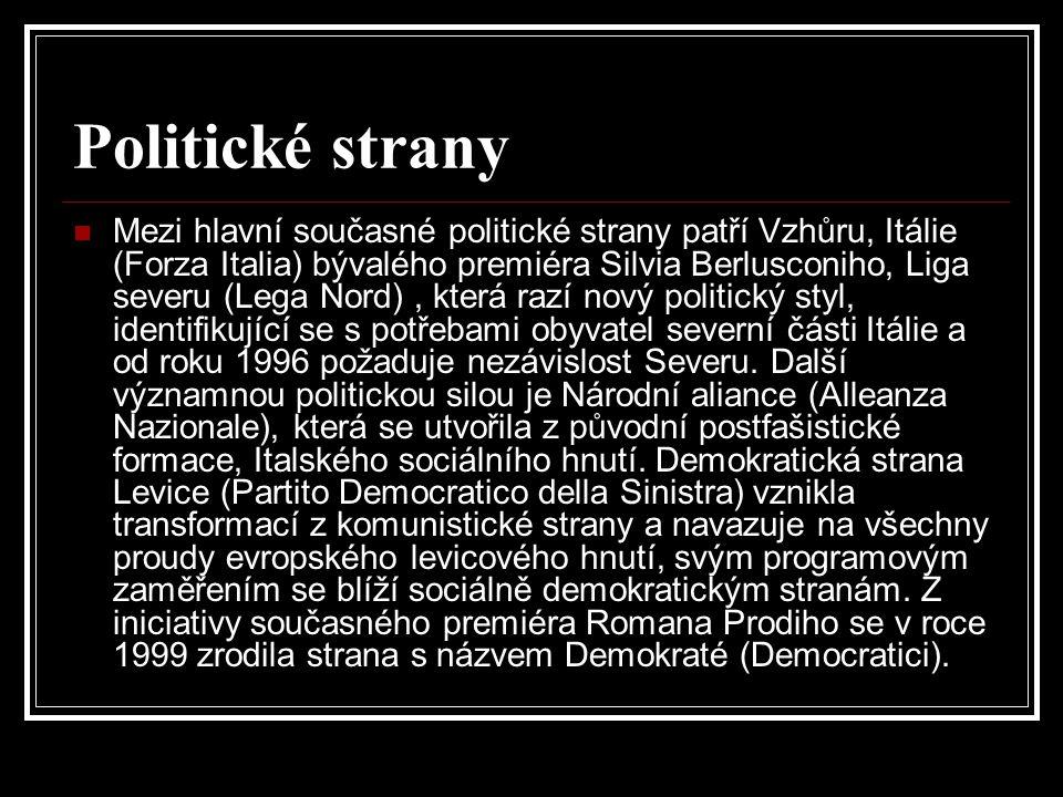 Politické strany Mezi hlavní současné politické strany patří Vzhůru, Itálie (Forza Italia) bývalého premiéra Silvia Berlusconiho, Liga severu (Lega No