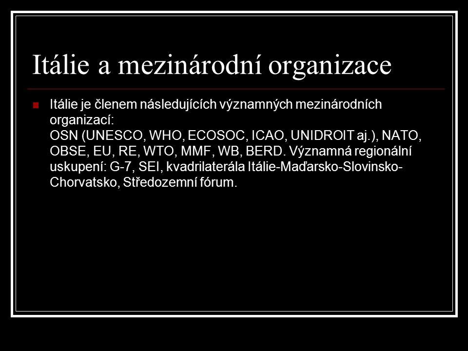 Itálie a mezinárodní organizace Itálie je členem následujících významných mezinárodních organizací: OSN (UNESCO, WHO, ECOSOC, ICAO, UNIDROIT aj.), NAT