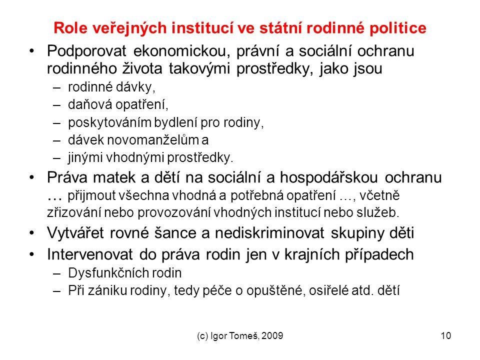 (c) Igor Tomeš, 200910 Role veřejných institucí ve státní rodinné politice Podporovat ekonomickou, právní a sociální ochranu rodinného života takovými