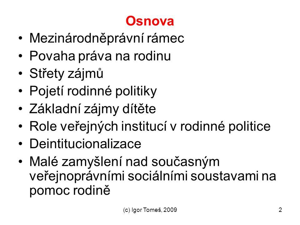 (c) Igor Tomeš, 20092 Osnova Mezinárodněprávní rámec Povaha práva na rodinu Střety zájmů Pojetí rodinné politiky Základní zájmy dítěte Role veřejných