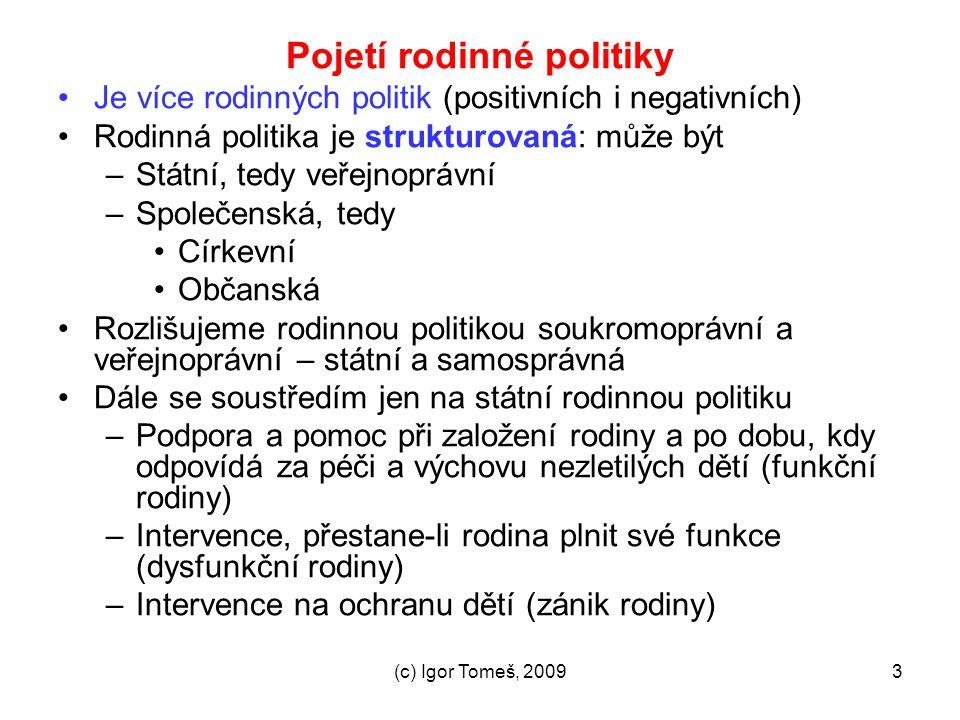 (c) Igor Tomeš, 20093 Pojetí rodinné politiky Je více rodinných politik (positivních i negativních) Rodinná politika je strukturovaná: může být –Státn
