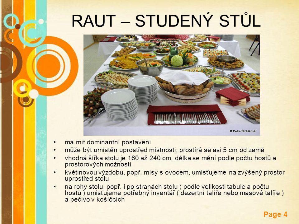 Free Powerpoint Templates Page 4 RAUT – STUDENÝ STŮL má mít dominantní postavení může být umístěn uprostřed místnosti, prostírá se asi 5 cm od země vh