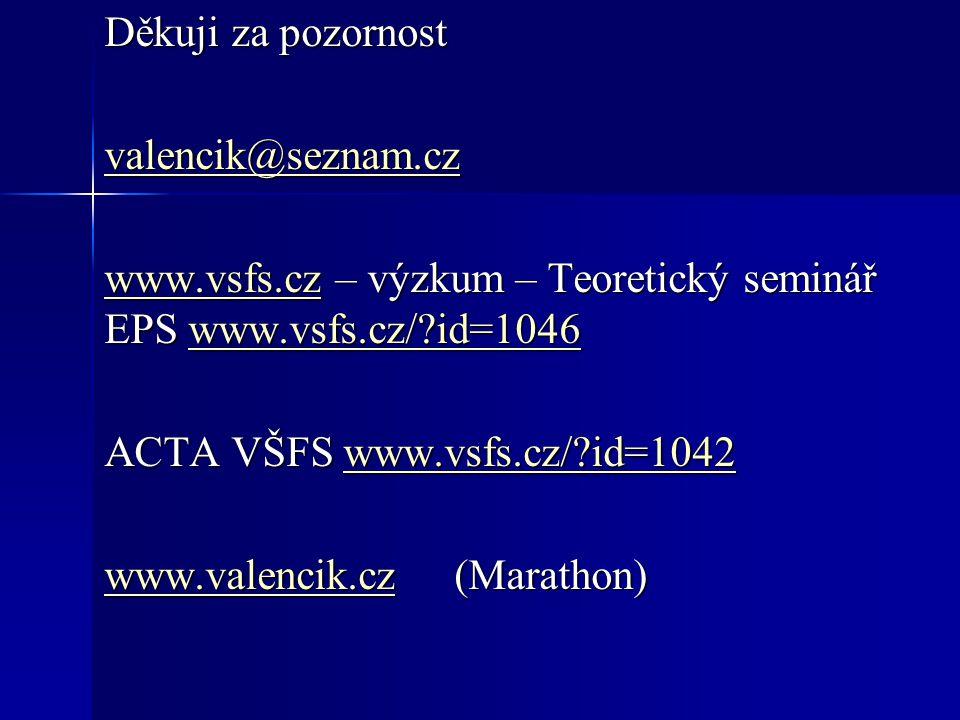 Děkuji za pozornost valencik@seznam.cz www.vsfs.czwww.vsfs.cz – výzkum – Teoretický seminář EPS www.vsfs.cz/?id=1046 www.vsfs.cz/?id=1046 www.vsfs.czwww.vsfs.cz/?id=1046 ACTA VŠFS www.vsfs.cz/?id=1042 www.vsfs.cz/?id=1042 www.valencik.czwww.valencik.cz (Marathon) www.valencik.cz